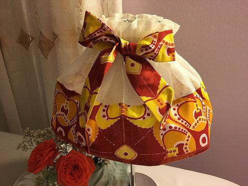 Jupon d'abat-jour toile de lin et Wax multicolor imprimé Origami orange/jaune