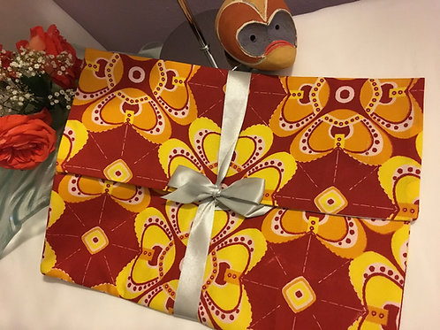 Pochette souple forme enveloppe GM Wax origami Orange/jaune