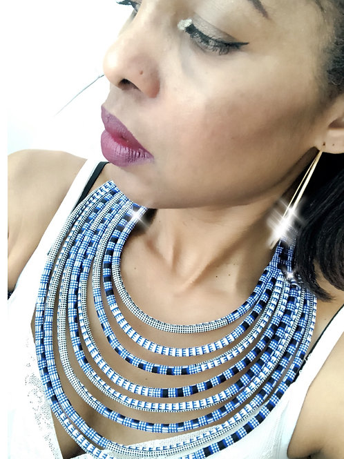 Collier multirang en Wax inspiration Ethnique Massai mulicolore