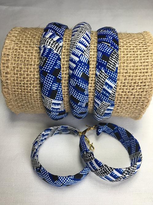 Parure Bracelets rigides + boucles d'oreillles en Wax