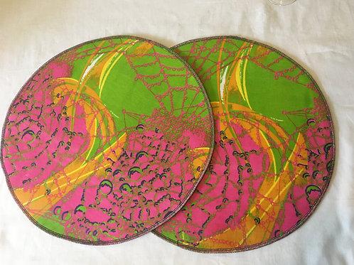 Set de table rond en Wax multicolore imprimé - Lot de 2
