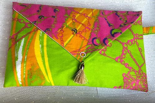 Pochette de sac rigide forme enveloppe Wax tie and dye