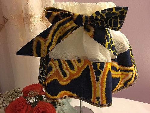 Jupon d'abat-jour toile de lin et  Wax multicolore imprimé bleu nuit/jaune