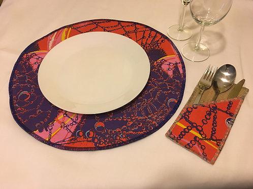 Set de table rond en Wax multicolore imprimé bulle java colours - Lot de 2