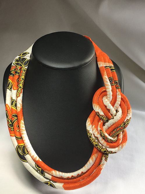 Collier infini en Wax inspiration Maasaï multicolore Orange