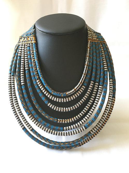 Collier multirang en Wax inspiration Maasaï Bleu/blanc