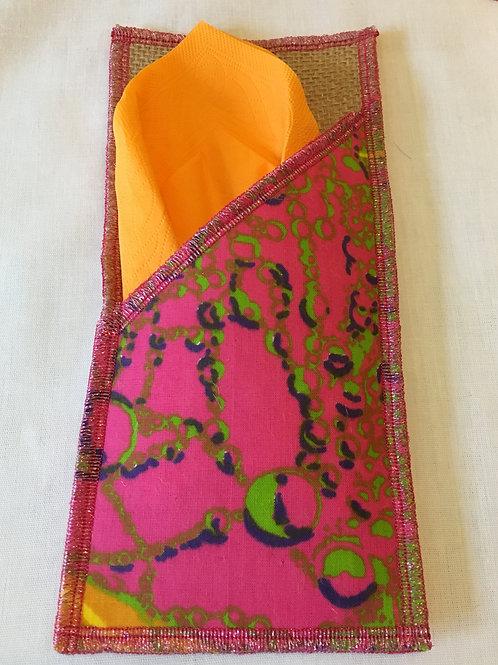 Porte couverts toile de jute et wax multicolore tie & dye- lot de 2