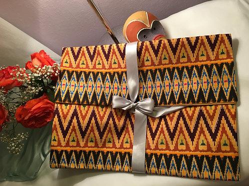 Pochette souple forme enveloppe GM Wax imprimé zigzag marron