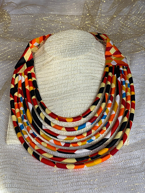 Collier multirang en Wax inspiration Maasaï