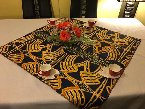Nappe de table Wax multicolor imprimé bleu nuit/jaune