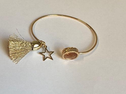 Bracelet Manchette Jonc Semi-Ouvert pompon