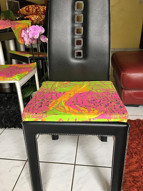 Housse coussin de chaise carrée Wax imprimé origami vert/fushia