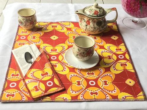 Set de table carré en Wax multicolore imprimé Origami- Lot de 2