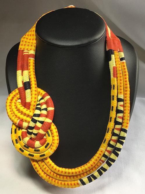 Collier infini en Wax inspiration Maasaï multicolore Jaune