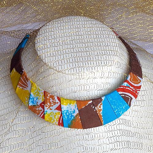 Collier plastron en Wax inspiration Ethnique large