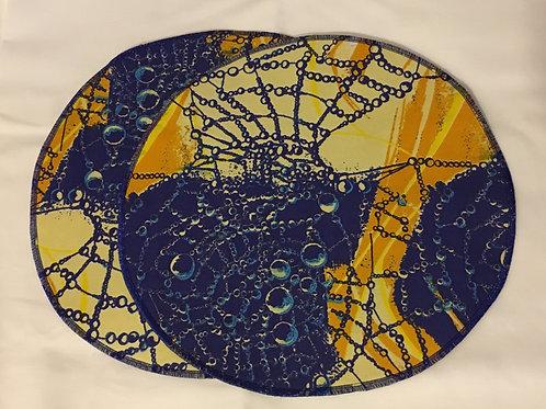 Set de table rond en Wax multicolore imprimé bleu/jaune - Lot de 2