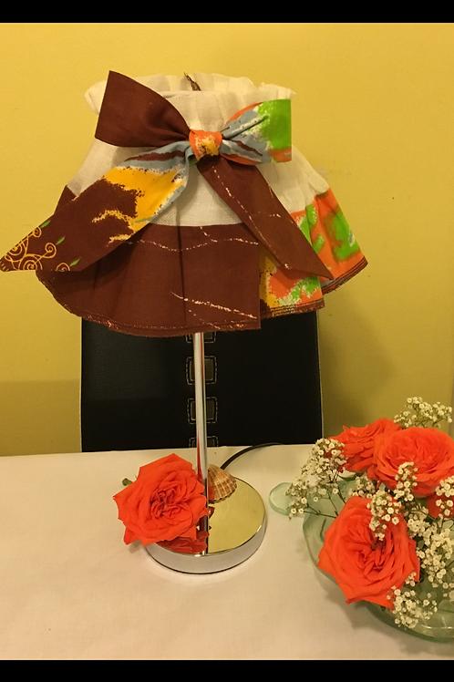 Jupon d'abat-jour toile de lin et  Wax multicolor imprimé Tie & dye marron multi