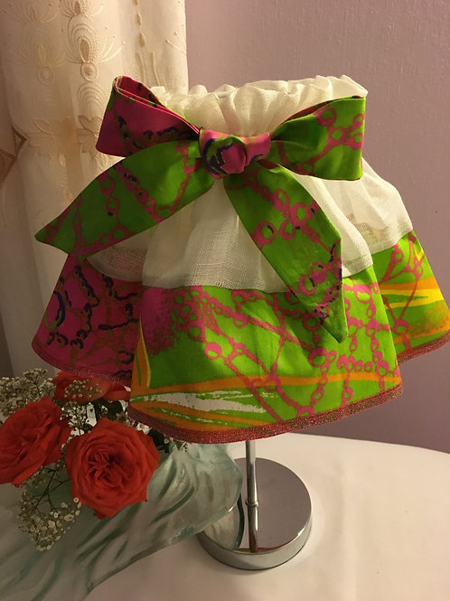 Jupon d'abat-jour toile de lin et Wax multicolore imprimé tie & dye vert/fushia