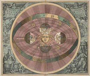 Heliocentric universe, Harmonia Macrocosmic, 1660, Andreas Cellarius's illustration of the Copernican system, first upload to de:wikipedia 22:42, 5. Apr 2004 by de:UserRivi . . 570 x 480 (63.606 Byte) (Heliozentrisches Weltbild)