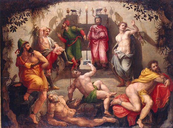 La Grotte de Platon, attribué à Michiel Coxcie, milieu du xvie siècle. Huile sur bois de peuplier. Musée de la Chartreuse, Douai.
