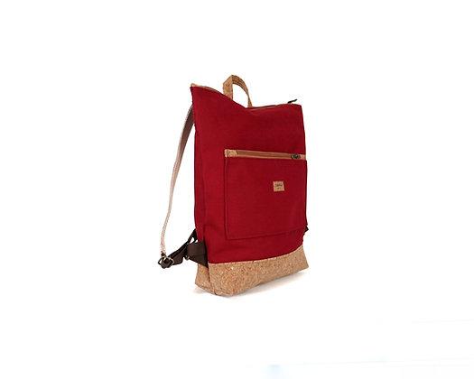 Burgundy Canvas & Cork,Lasal Zipper Backpack