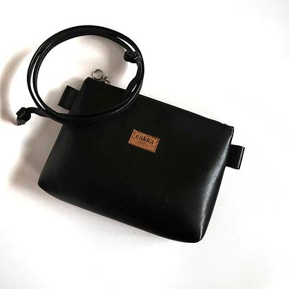 Black Vegan Leather,ARC Zipper Clutch bag