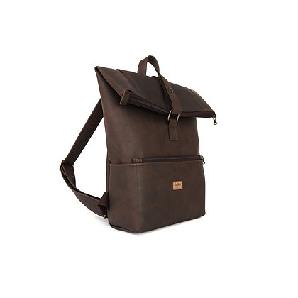 Brown Vegan Leather,Laki Roll Top Backpack