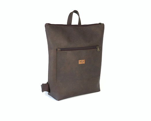 Brown Vegan Leather,Lasal Zipper Backpack