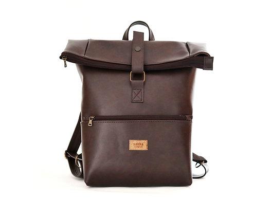 Brown Vegan Leather,Laki Roll Top Backpack