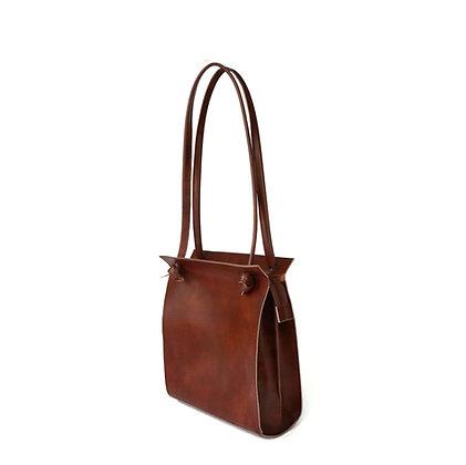 Knots shoulder bag, brown vegan leather
