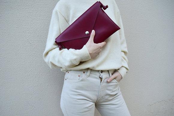 Burgundy Vegan Leather,ARC Envelope Clutch bag