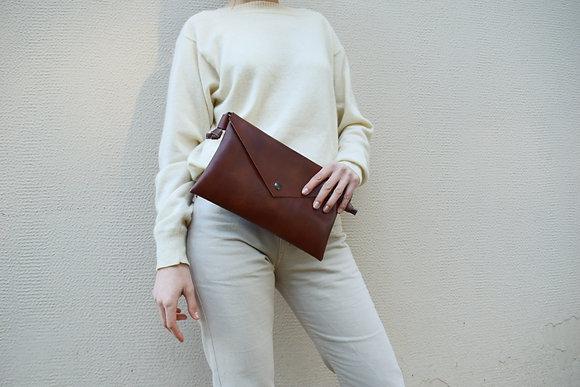 Brown Vegan Leather,ARC Envelope Clutch bag
