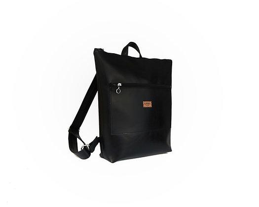Black Vegan Leather,Lasal Zipper Backpack