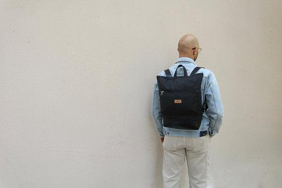 Black Waxed canvas & Vegan Leather,Lasal Zipper Backpack