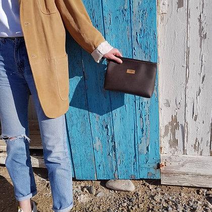 Brown Vegan Leather,ARC Zipper Clutch bag