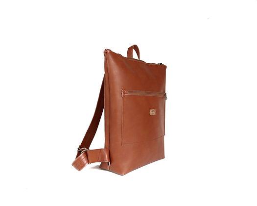 Tan Vegan Leather,Lasal Zipper Backpack