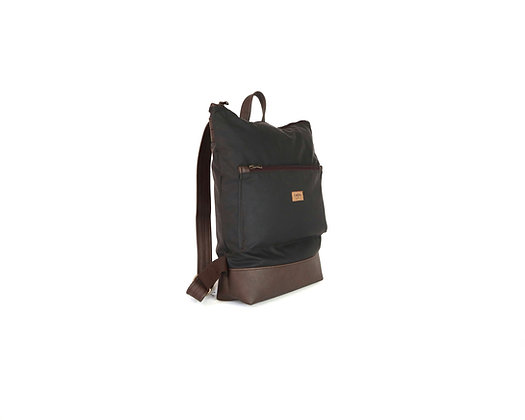 Brown Waxed canvas & Vegan Leather,Lasal Zipper Backpack