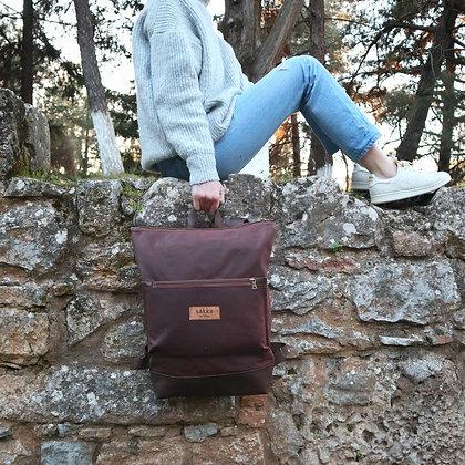 Brown Waxed canvas & Cork,Lasal Zipper Backpack