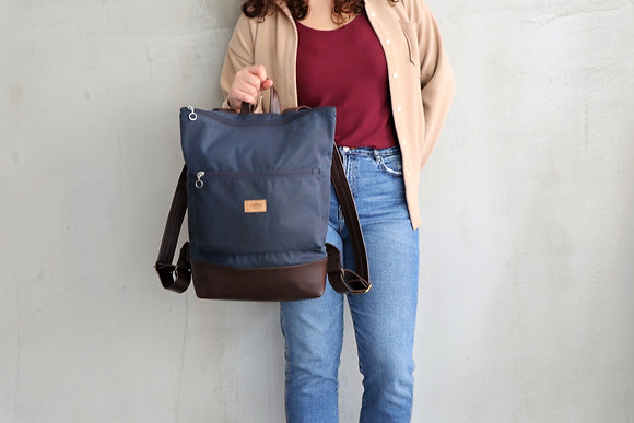 Blue Waxed canvas & Brown Vegan Leather,Lasal Backpack