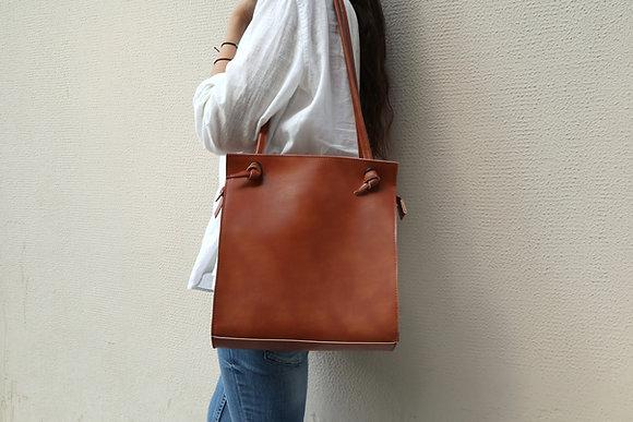 Knots shoulder bag, Tan vegan leather