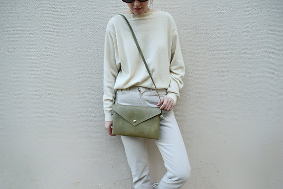 Green Pastel Vegan Leather,ARC Envelope Clutch bag