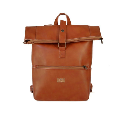 Tan Vegan Leather,Laki Roll Top Backpack