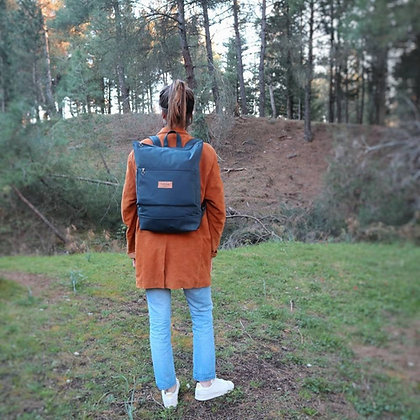 Blue Waxed canvas & Cork,Lasal Zipper Backpack