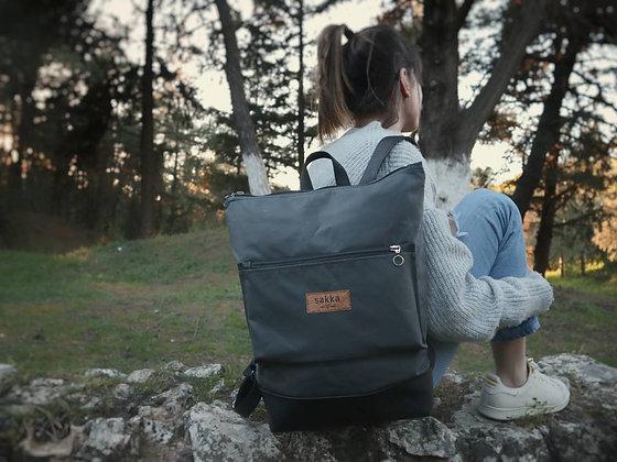 Gray Waxed canvas & Cork,Lasal Zipper Backpack