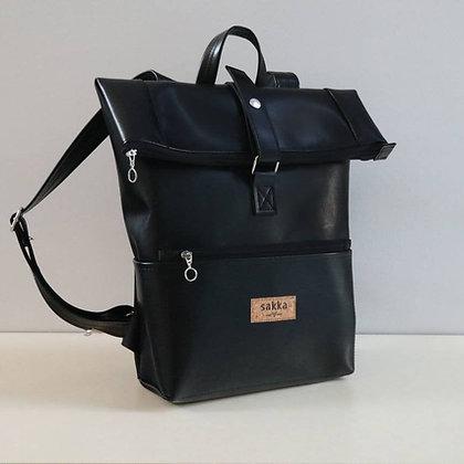 Black Vegan Leather,Laki Roll Top Backpack