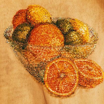 Pointillism Fruit bowl square print