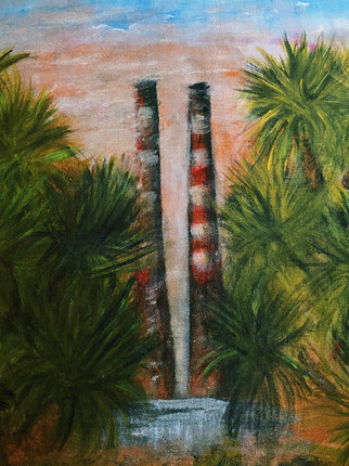 Poolbeg through palms