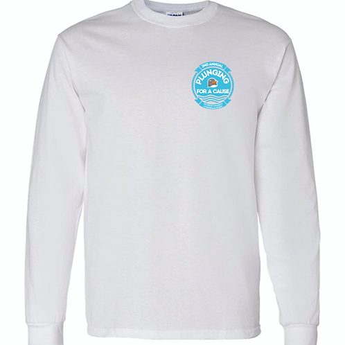 """""""Plunging For A Cause"""" Long Sleeve White Tee"""