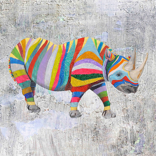 rhino art print for children's rooms