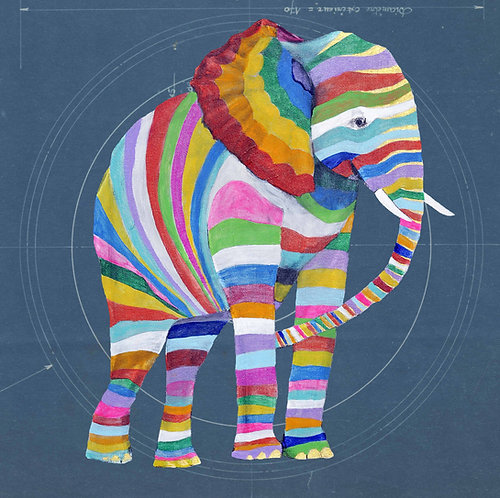 Square Elephant on Blueprint by Raph Thomas